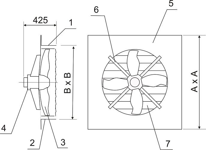 Вентилятор осевой ВО-8